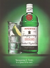 Tanqueray Gin 1988 Ad. And Tonic. In a glass of its own. Imported Special Dry Distilled English Gin. Product of England. Schieffelin & Somerset, New York, NY. Liquor. Stock Number: 05426-W.